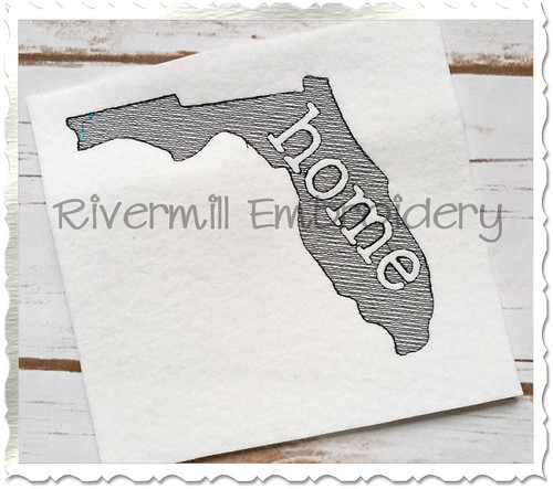 Sketch Style Florida Home Machine Embroidery Design