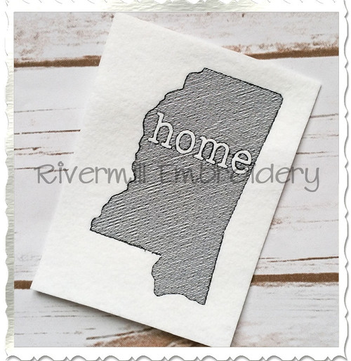Sketch Style Mississippi Home Machine Embroidery Design