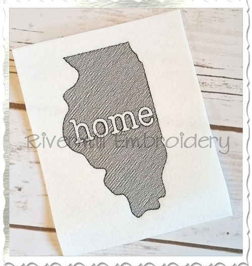 Sketch Style Illinois Home Machine Embroidery Design