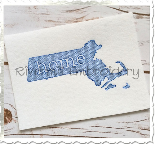 Sketch Style Massachusetts Home Machine Embroidery Design