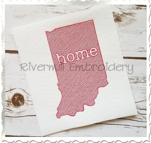 Sketch Style Indiana Home Machine Embroidery Design
