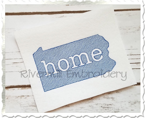 Sketch Style Pennsylvania Home Machine Embroidery Design