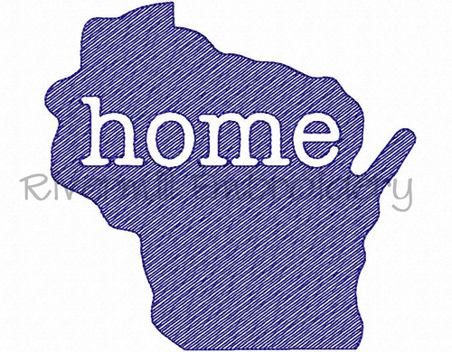 Sketch Style Wisconsin Home Machine Embroidery Design
