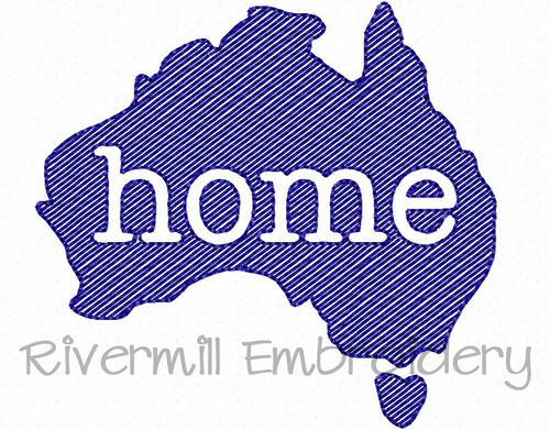 Small Sketch Style Australia Home Machine Embroidery Design