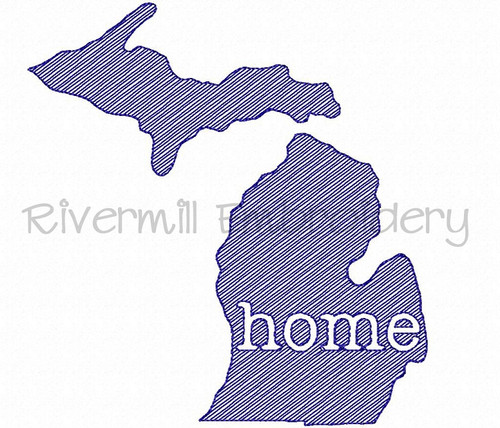 Sketch Style Michigan Home Machine Embroidery Design