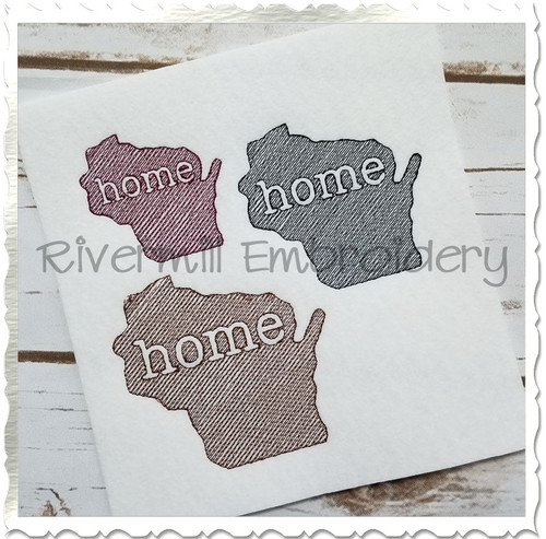 Small Sketch Style Wisconsin Home Machine Embroidery Design