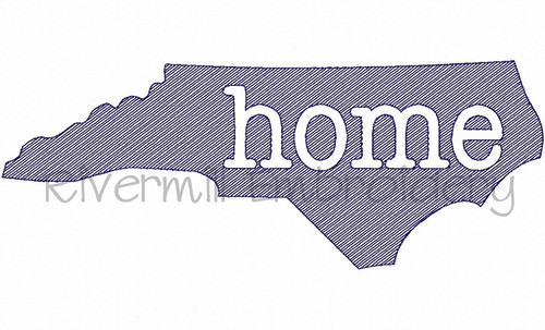 Large Sketch Style North Carolina Home Machine Embroidery Design
