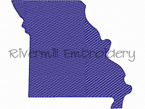 Small Sketch Style Missouri Machine Embroidery Design