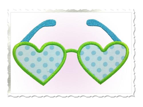 Heart Shaped Sunglasses Applique Machine Embroidery Design