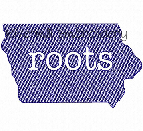 Sketch Style Iowa Roots Machine Embroidery Design