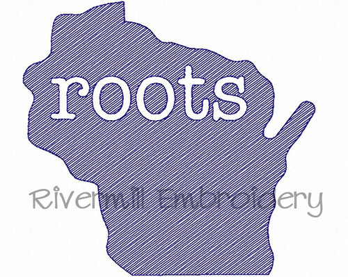 Sketch Style Wisconsin Roots Machine Embroidery Design