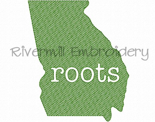 Sketch Style Georgia Roots Machine Embroidery Design