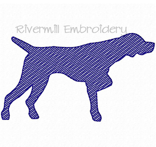 Small Sketch Style Pointer Dog Machine Embroidery Design
