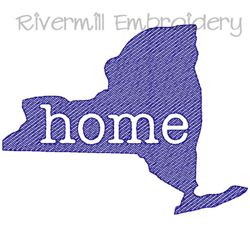 Vintage Sketch Style New York Home Machine Embroidery Design