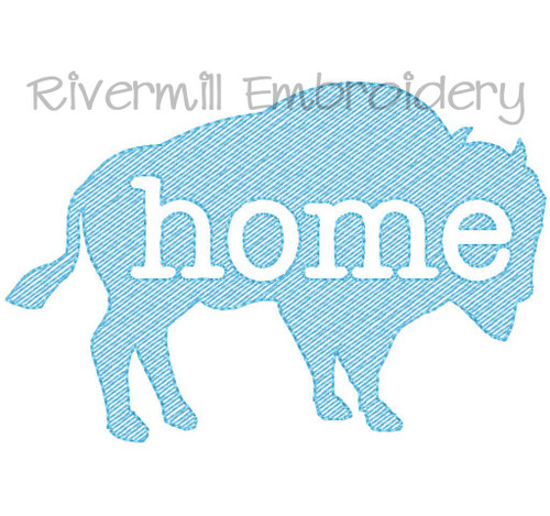 Vintage Sketch Style Buffalo Home Machine Embroidery Design
