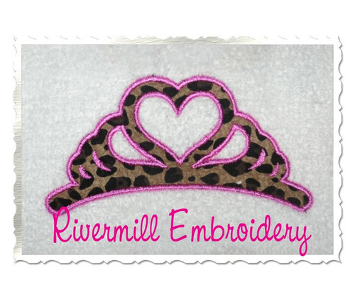 Applique Heart Shaped Crown Machine Embroidery Design