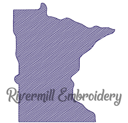 Sketch Style Minnesota Machine Embroidery Design