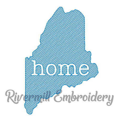 Sketch Style Maine Home Machine Embroidery Design