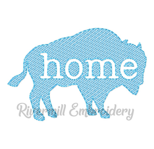 Small Vintage Sketch Style Buffalo Home Machine Embroidery Design