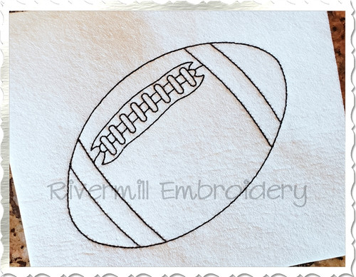 Redwork Style Football Machine Embroidery Design