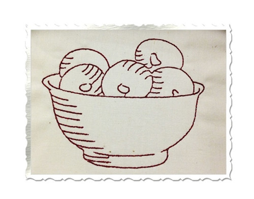 Redwork Vintage Style Bowl Of Fruit Machine Embroidery Design
