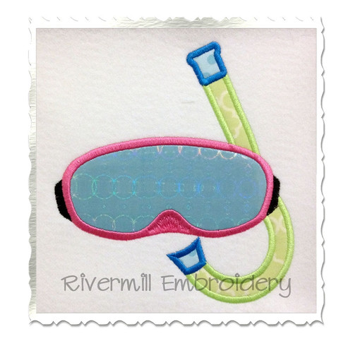 Applique Swim Goggles & Snorkel Machine Embroidery Design