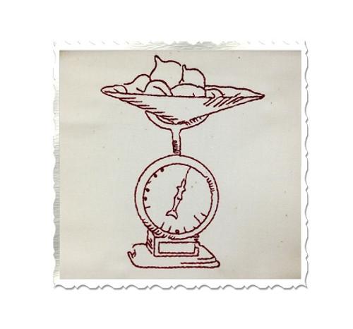 Redwork Vintage Style  Kitchen Scale Machine Embroidery Design