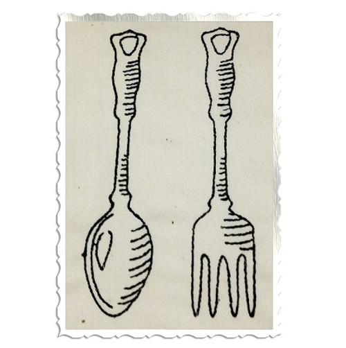 Redwork Vintage Style Kitchen Spoon & Fork Machine Embroidery Design