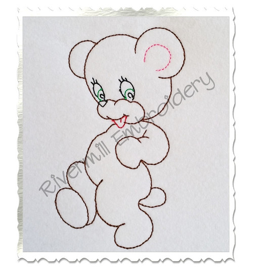 Walking Bear Vintage Style Machine Embroidery Design