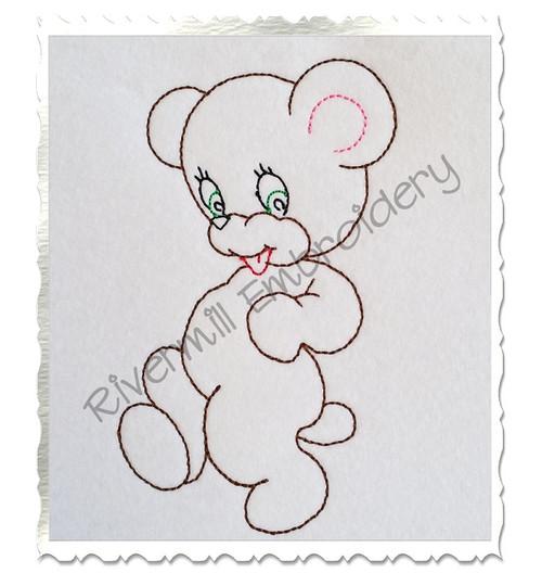 Walking Bear Vintage Style Machine Embroidery Design