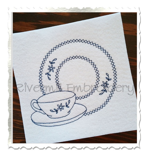 Tea Cup & Plate Vintage Style Machine Embroidery Design