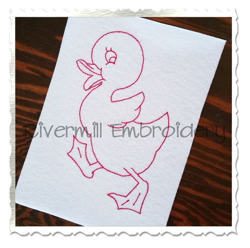 Vintage Style Duckling Machine Embroidery Design