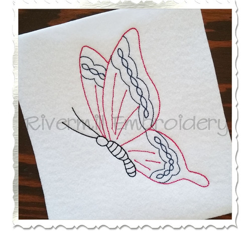 Vintage Style Butterfly Machine Embroidery Design