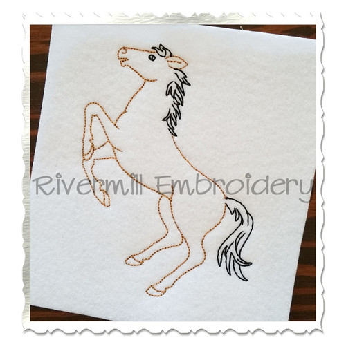 Vintage Style Horse Machine Embroidery Design
