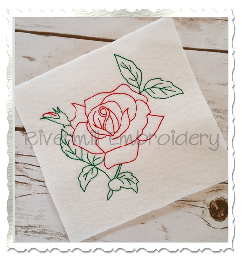 Vintage Style Rose Machine Embroidery Design
