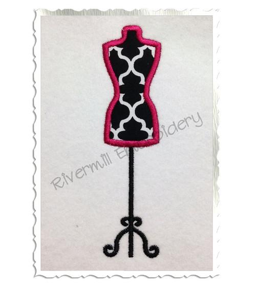 Dress Form Applique Machine Embroidery Design