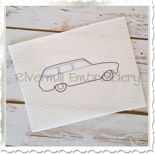 Vintage Style Station Wagon Machine Embroidery Design
