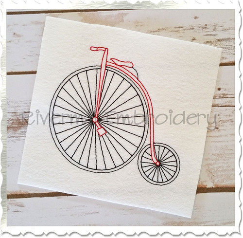 Vintage Style Penny Farthing High Wheel Bicycle Machine Embroidery Design
