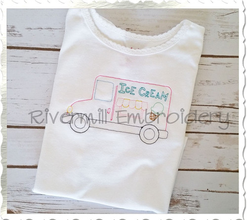 Vintage Style Ice Cream Truck Machine Embroidery Design