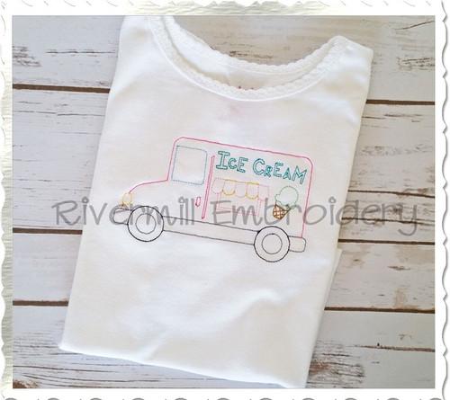 Vintage Style Ice Cream Truck Machine Embroidery Design