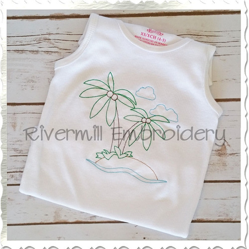 Vintage Style Island Machine Embroidery Design