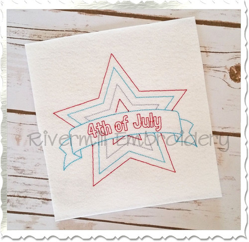 Vintage Style Fourth Of July Star Machine Embroidery Design