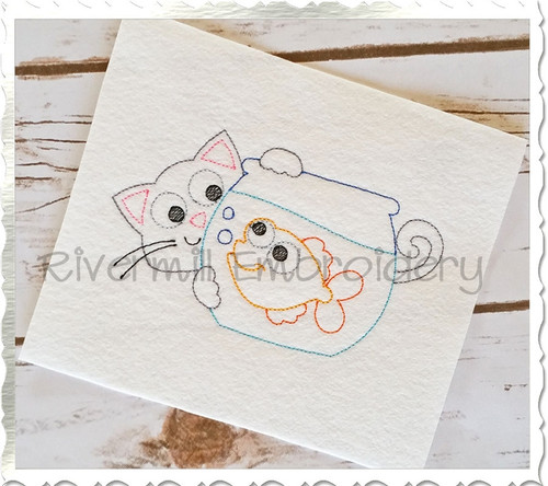 Vintage Style Cat & Fish Bowl Machine Embroidery Design