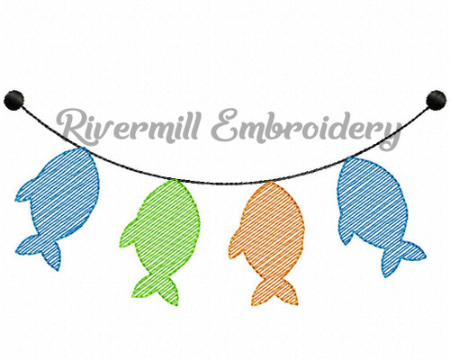 Sketch Style Fish Hanging on a Line Machine Embroidery Design