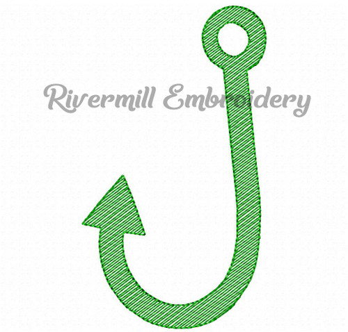 Sketch Style Fishing Hook Machine Embroidery Design
