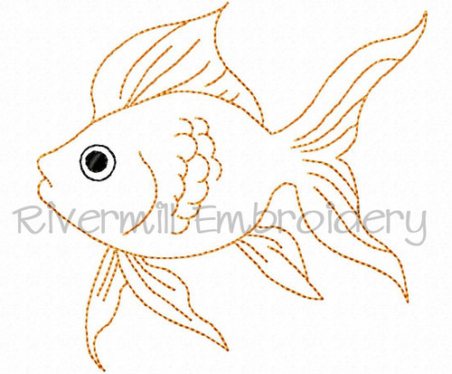 Bean Stitch Goldfish Machine Embroidery Design