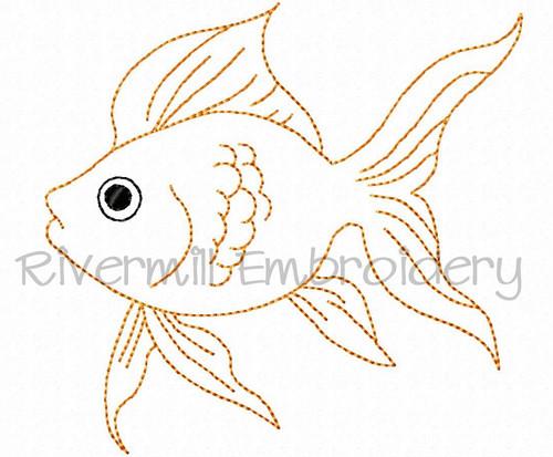 Bean Stitch Goldfish Machine Embroidery Design