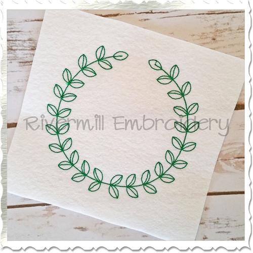 Vintage Style Laurel Leaf Monogram Frame Machine Embroidery Design