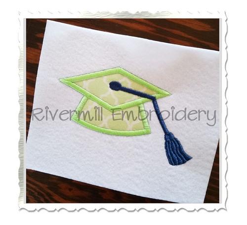 Applique Graduation Cap Machine Embroidery Design