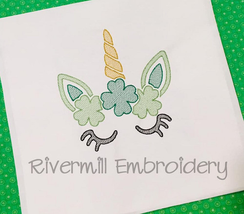 Sketch Style Unicorn With 4 Leaf Clovers Machine Embroidery Design